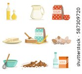 baking ingredients and kitchen... | Shutterstock .eps vector #587309720