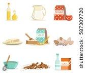 baking ingredients and kitchen... | Shutterstock .eps vector #587309720