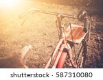 vintage bicycle on vintage... | Shutterstock . vector #587310080