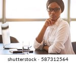 young black business woman... | Shutterstock . vector #587312564