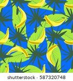 seamless bananas and tropical...   Shutterstock .eps vector #587320748
