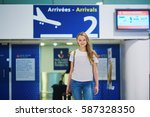 beautiful young tourist girl... | Shutterstock . vector #587328350