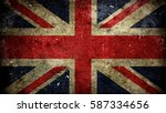 great britain flag on old... | Shutterstock . vector #587334656