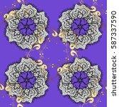seamless classic vector golden... | Shutterstock .eps vector #587337590