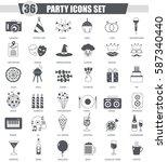 party black icon set. dark... | Shutterstock . vector #587340440