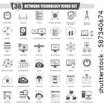 network technology black icons ... | Shutterstock . vector #587340674