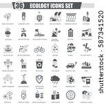 ecology black icon set. dark...   Shutterstock . vector #587341520