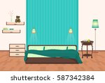 beautiful modern bedroom... | Shutterstock . vector #587342384