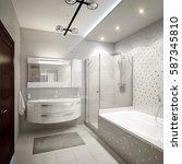 modern bathroom interior with... | Shutterstock . vector #587345810