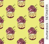 cake with flowers roses  vector ...   Shutterstock .eps vector #587346554