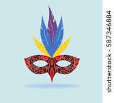 carnival masquerade mask with... | Shutterstock .eps vector #587346884