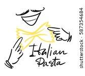 logo for italian cuisine with... | Shutterstock .eps vector #587354684