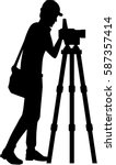 surveyor silhouette with...