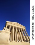 West side view of the United States Supreme Court building, copy space. - stock photo