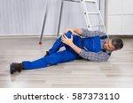 an injured man suffered from... | Shutterstock . vector #587373110