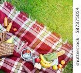 basket setting food fruit...   Shutterstock . vector #587375024