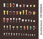 glass types flat icons set | Shutterstock .eps vector #587380844