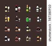 alcoholic drinks  bottles and... | Shutterstock .eps vector #587380910