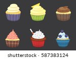 set of cute vector cupcakes and ... | Shutterstock .eps vector #587383124