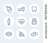 medical icons set in line style ... | Shutterstock .eps vector #587385440