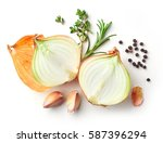 onions and spices isolated on... | Shutterstock . vector #587396294