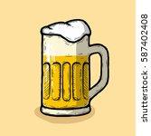 hand drawn beer glasses... | Shutterstock .eps vector #587402408