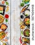 asian food served on white... | Shutterstock . vector #587404448