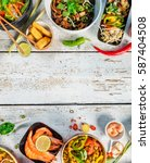 asian food served on white... | Shutterstock . vector #587404508