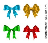 set of colorful gift bows... | Shutterstock .eps vector #587405774