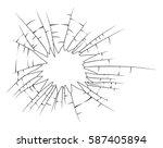 broken glass silhouette vector... | Shutterstock .eps vector #587405894