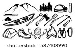 set of mountain and adventure... | Shutterstock .eps vector #587408990