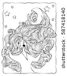 coloring book page. girl with...   Shutterstock . vector #587418140