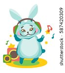 bunny listens to music in... | Shutterstock .eps vector #587420309