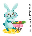 rabbit with a trolley and...   Shutterstock .eps vector #587420318