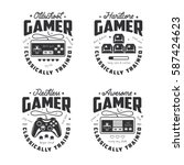 retro video games related t... | Shutterstock .eps vector #587424623