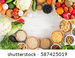 variety of fruits and... | Shutterstock . vector #587425019