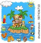 family and summer doodle icon... | Shutterstock .eps vector #587436710