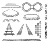 set of new railroad curves ... | Shutterstock .eps vector #587436740