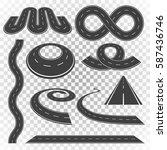 set of asphalt road curves ...   Shutterstock .eps vector #587436746