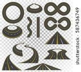 set of asphalt road curves ...   Shutterstock .eps vector #587436749