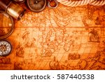 vintage magnifying glass ... | Shutterstock . vector #587440538