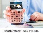 futuristic smart phone  phablet ... | Shutterstock . vector #587441636