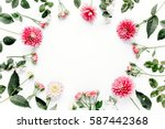 round frame with pink flower... | Shutterstock . vector #587442368