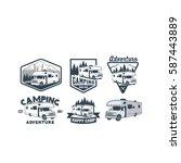 rv camper camping car vintage... | Shutterstock .eps vector #587443889