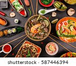 various of asian meals on... | Shutterstock . vector #587446394
