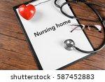 nursing home contract on... | Shutterstock . vector #587452883