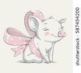 Cute Piggy With A Bow Cartoon...