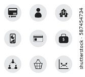 set of 9  analytics icons....