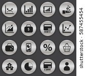 set of 16  logical icons.... | Shutterstock . vector #587455454