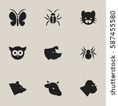 set of 9  zoology icons....